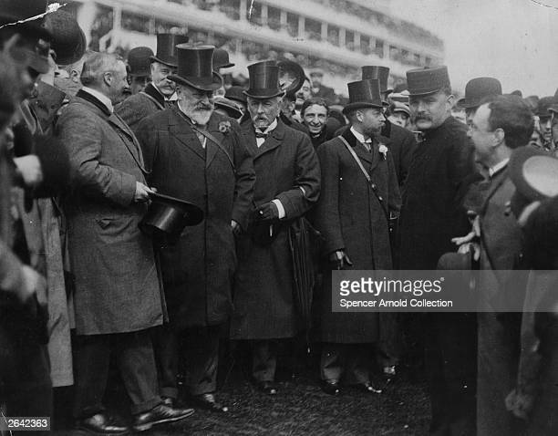 King Edward VII who ascended the British throne in 1901 at the Derby at Epsom with his son the Prince of Wales who succeeded him as King George V