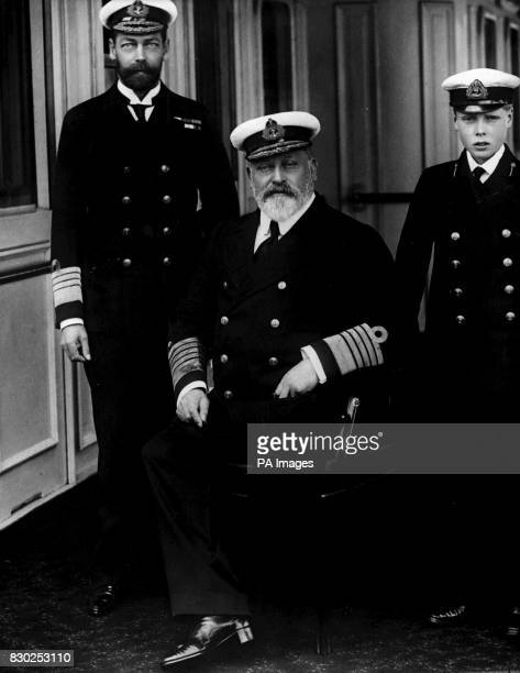King Edward VII who initiated the Entente Cordiale between Great Britain and France in 1904 pictured here with his son The Prince of Wales and his...