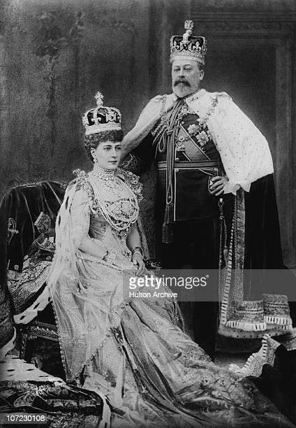 King Edward VII with his consort Queen Alexandra in London on the day of his coronation, 9th August 1902.