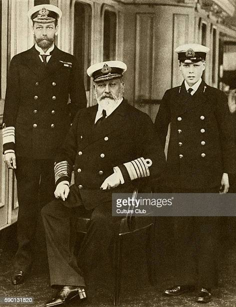 King Edward VII with his son George V and his grandson the Prince of Wales on the Royal yacht shortly before his death in 1910