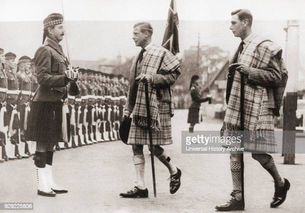 King Edward VIII middle of picture and his brother the Duke of York future King George VI at Balmoral in 1936 Edward VIII 1894 – 1972 King of the...