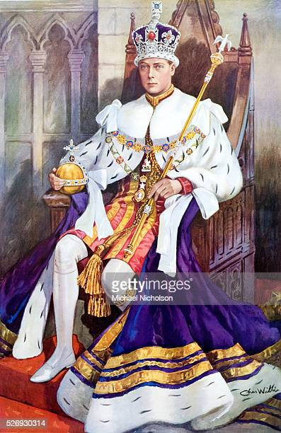 King Edward VIII of the United Kingdom pictured in the coronation chair and wearing the coronation robes holding the orb scepter and wearing the...
