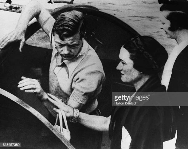 King Edward VIII on holiday in Yugoslavia with Mrs Wallis Simpson whom he was later to marry thus necessitating his abdication because she was a...