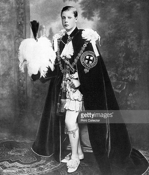 King Edward VIII when Prince of Wales wearing his robes as a Knight of the Garter early 20th century Illustration from George V and Edward VIII A...