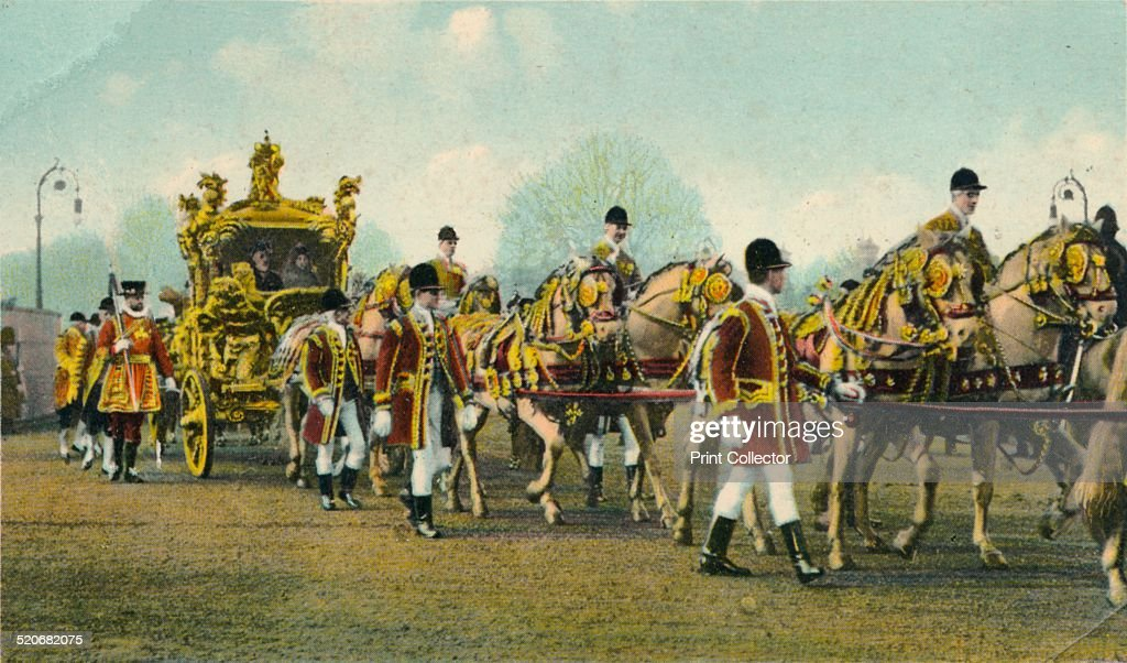 King Edward VII's State Coach used for Opening of Parliament, 1910 : News Photo