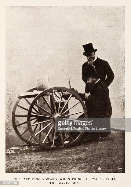 King Edward, when Prince of Wales, fires the Maxim gun.