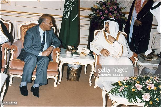 King Fahd and Husseini president of Lebanese parliament in Jeddah Saudi Arabia on October 24 1989