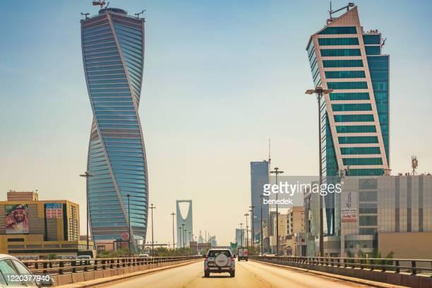 king fahd road and skyscrapers in riyadh saudi arabia - riyadh stock pictures, royalty-free photos & images