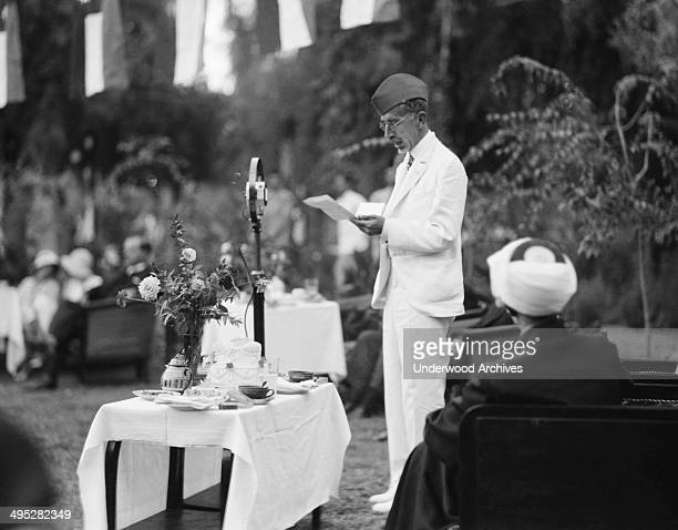 King Faisal of Iraq broadcasting his speech during the celebration of Iraq becoming a member of the League of Nations Baghdad Iraq October 6 1932