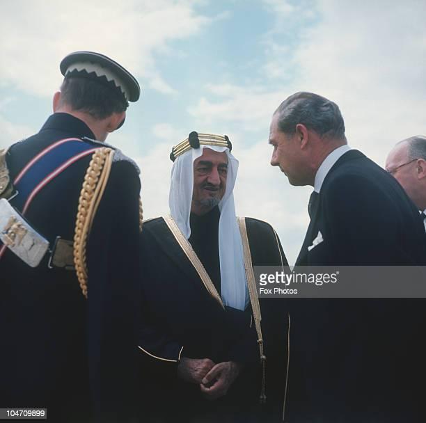 King Faisal of Saudi Arabia arrives at London airport on May 09, 1967.
