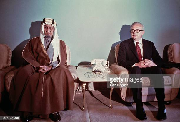 King Faisal of Saudi Arabia in his Al Hamra palace with Frank Jungers director of American oil company Aramco which processes 50% of the oil produced...