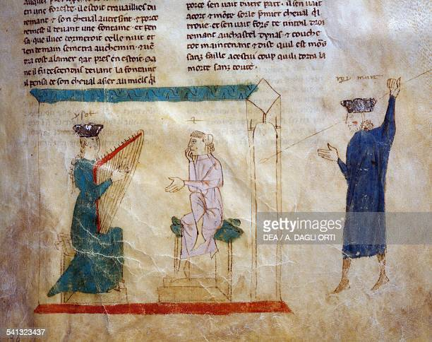 King Faramonte's daughter trying to seduce Tristan page from the Roman de Tristan 13001310 parchment manuscript France 14th century Modena Biblioteca...