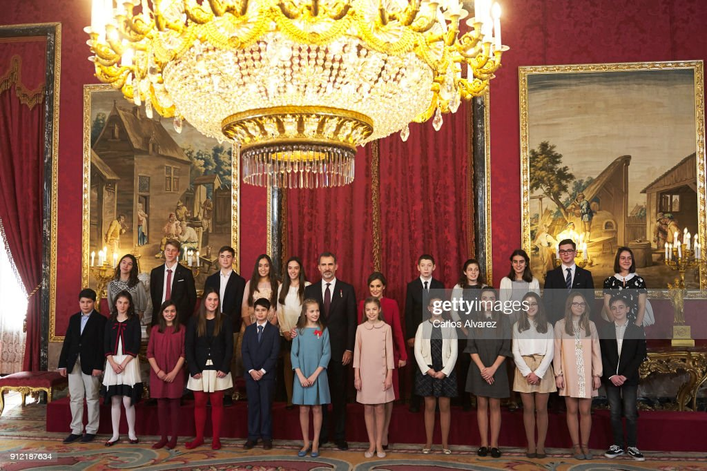 King Felie of Spain, Queen Letizia of Spain, Princess Leonor of Spain and Princess Sofia of Spain (C) greet children and winners of ÔQue Es un Rey Para TiÕ competition, after the Order of Golden Fleece (Toison de Oro), cremony at the Royal Palace on January 30, 2018 in Madrid, Spain. Today is King's Felipe 50th birthday.