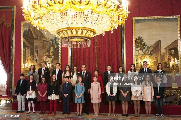King Felie of Spain Queen Letizia of Spain Princess Leonor of Spain and Princess Sofia of Spain greet children and winners of ÔQue Es un Rey Para TiÕ...