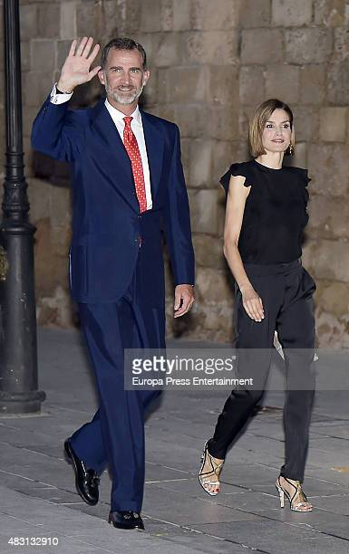 King Felipe and Queen Letizia attend a official reception at the Almudaina Palace on August 5 2015 in Palma de Mallorca Spain