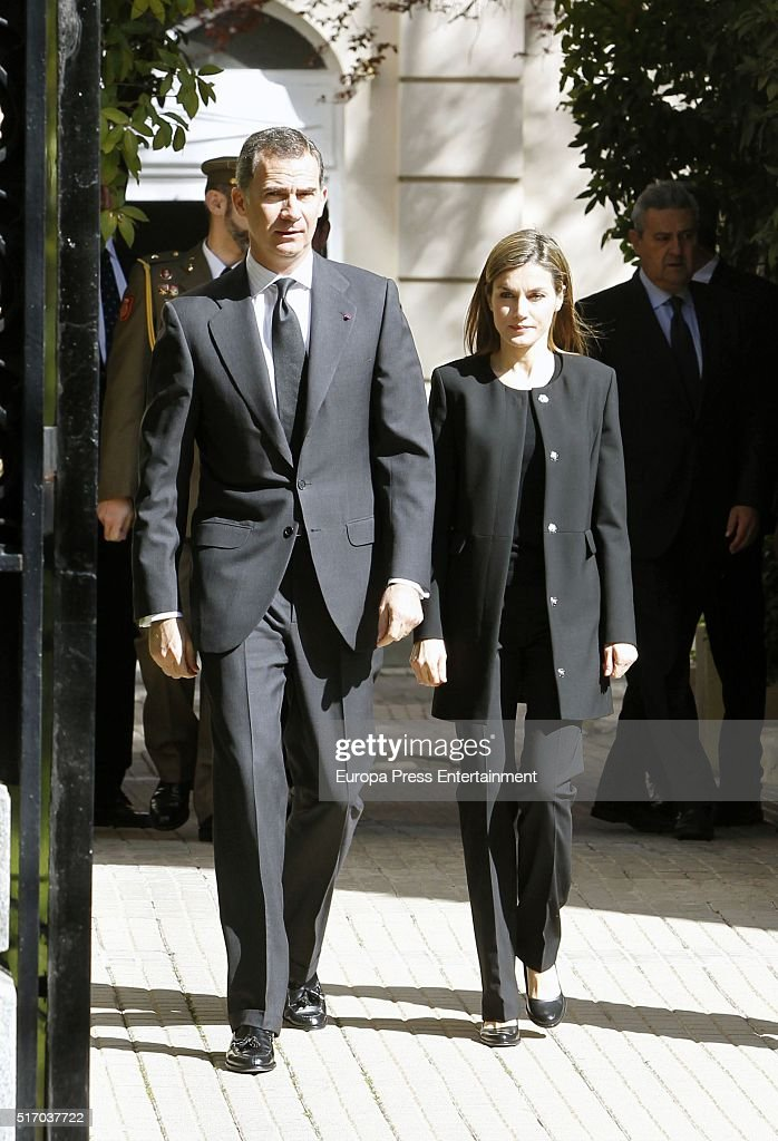 Spanish Royals Sign Book of Condolences At Belgium Embassy : News Photo