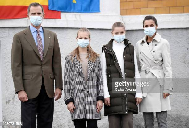 King Felipe and Queen Letizia of Spain with their daughters Princess Leonor ) and Princess Sofia during their visit to Somao, which has been honoured...