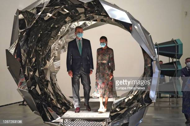 King Felipe and Queen Letizia visit the exhibitions 'Olafur Eliasson In Real Life' and 'Learning Through Art 2020' at the Guggenheim Museum Bilbao on...