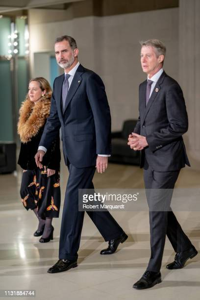 King Felipe IV of Spain attends the official dinner inauguration for Mobile World Congress 2019 held at the Museu Nacional d'Art de Catalunya on...