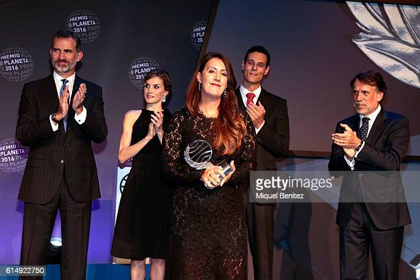 King Felipe IV of Spain Queen Letizia of Spain writer winner Dolores Redondo writer semifinalist Marcos Chicot and Josep Crehueras attend the '65th...