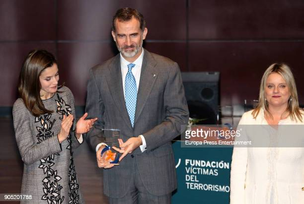 King Felipe of Spain accompanied by Queen Letizia of Spain and Mari Mar Blanco receives Terrorism Victims Foundation Award at Reina Sofia Museum on...