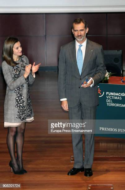King Felipe of Spain accompanied by Queen Letizia of Spain receives Terrorism Victims Foundation Award at Reina Sofia Museum on January 15 2018 in...
