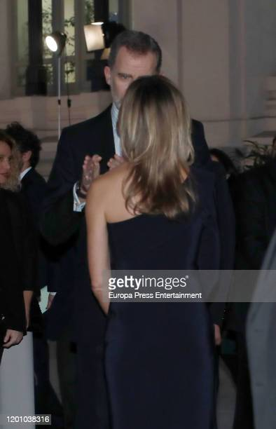 King Felipe of Spain and Begoña Gomez attend commemorative dinner of the 40th anniversary of the FITUR at Palacio de Cibeles on January 21 2020 in...