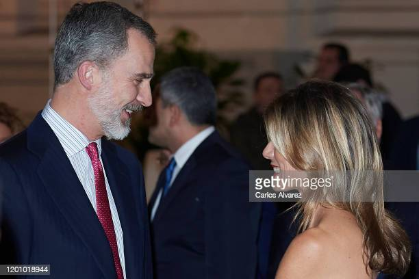King Felipe of Spain and Begona Gomez attend commemorative dinner of the 40th anniversary of the FITUR at Palacio de Cibeles on January 21, 2020 in...