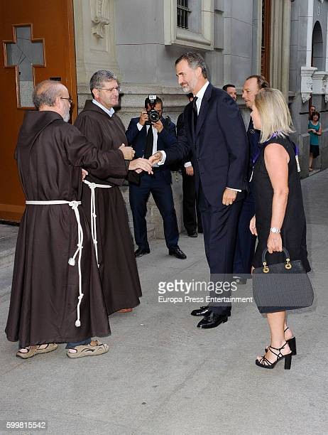 King Felipe of Spain and Flavia de HohenloheLangenburg y Medina attend the funeral chapel for Duke of Medinaceli Marco De Hohenlohelangenburg y...