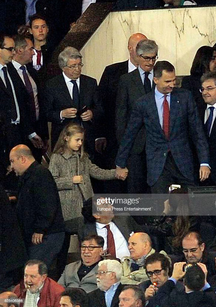 King Felipe of Spain and his daughter Princess Leonor attend the UEFA Champions League semi final first leg match between Club Atletico Madrid and FC Bayern Muenchen (Bayern Munich) at Vicente Calderon Stadium on April 27, 2016 in Madrid, Spain.