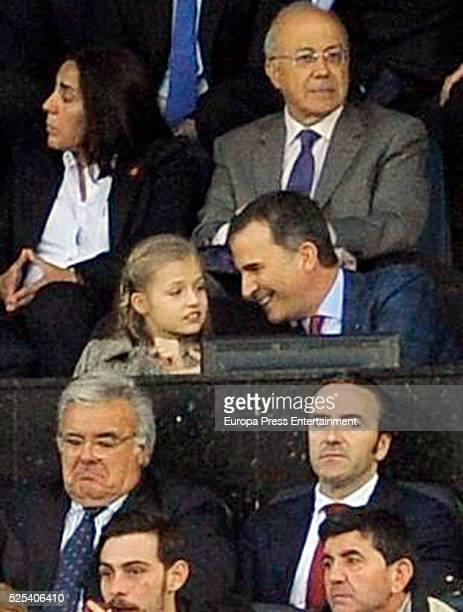 King Felipe of Spain and his daughter Princess Leonor attend the UEFA Champions League semi final first leg match between Club Atletico Madrid and FC...