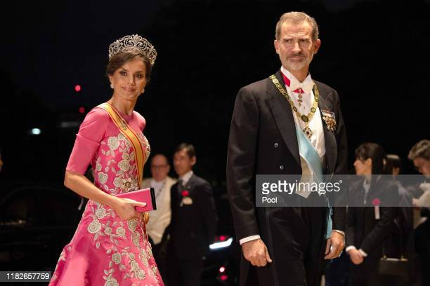 King Felipe of Spain and his wife Queen Letizia of Spain arrive at the Imperial Palace for the Court Banquets after the Ceremony of the Enthronement...