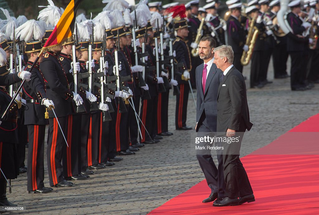 King Felipe of Spain and King Philippe of Belgium during a Spanish State visit at the Royal Palace on November 12, 2014 in Brussel, Belgium.