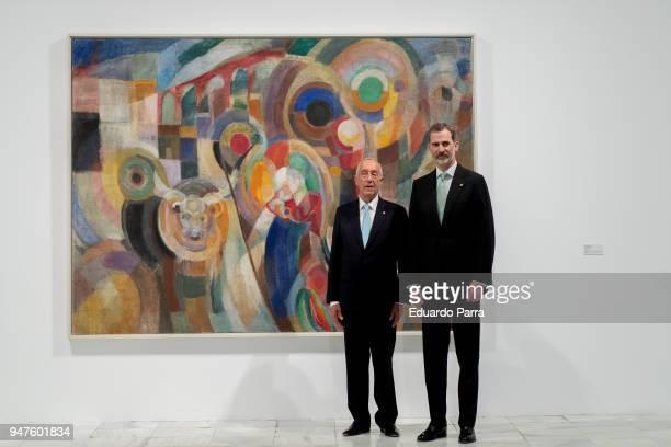 King Felipe of Spain and president of Portugal Marcelo Rebelo de Sousa attend 'Pessoa Todo arte es una forma de literatura' exhibition at Reina Sofia...