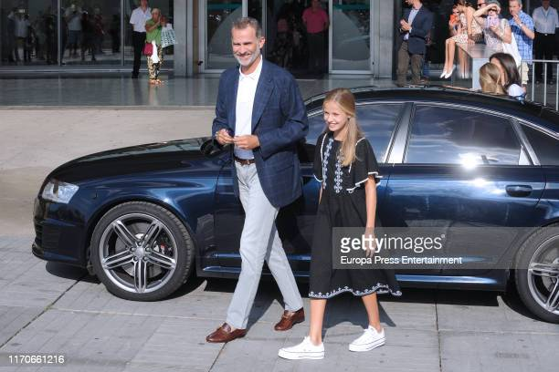 King Felipe of Spain and Princess Leonor of Spain are seen arriving to visit King Juan Carlos at Quiron Hospital on August 27 2019 in Pozuelo de...