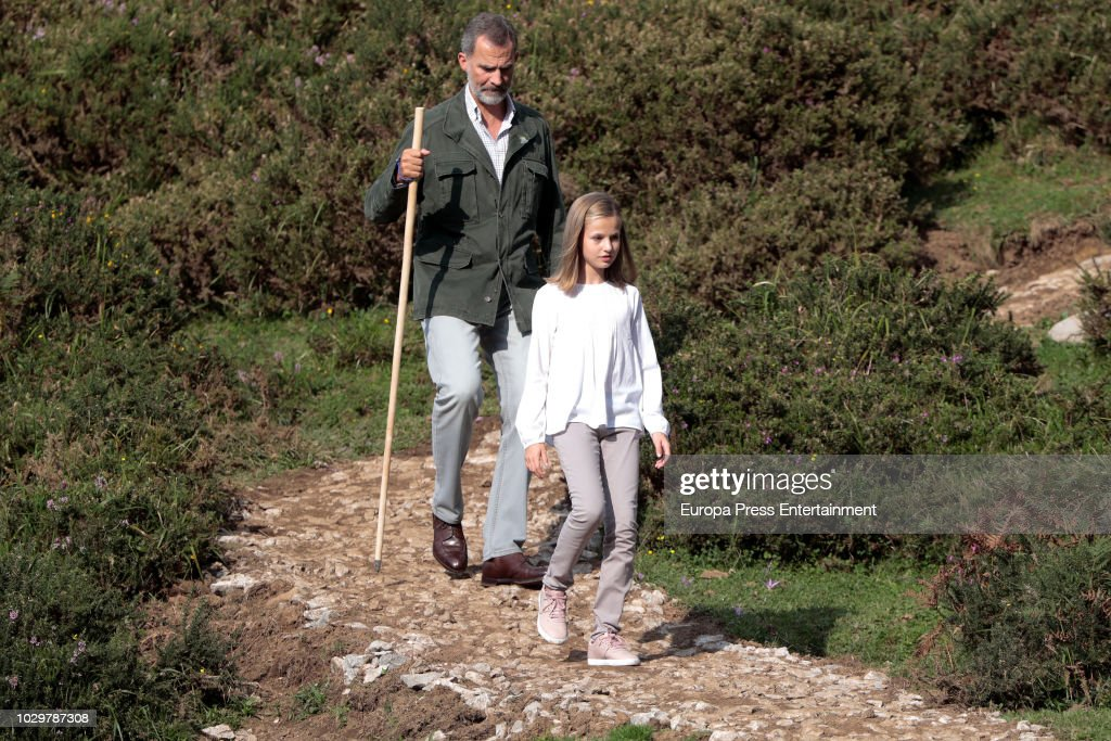 King Felipe of Spain and Princess Leonor of Spain attend the Centenary of the creation of the National Park of Covadonga's Mountain and the opening of the Princess of Asturias viewpoint at Lagos de Covadonga on September 8, 2018 in Covadonga, Spain.