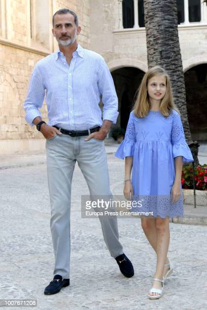 King Felipe of Spain and Princess Leonor of Spain pose for the photographers during the summer session at the Almudaina Palace on July 29 2018 in...