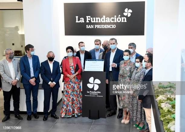 King Felipe of Spain and Queen Letizia of Spain and guests during a visit to the new headquarters of the San Prudencio Foundation on July 17 2020 in...