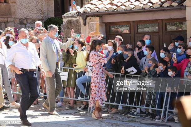 King Felipe of Spain and Queen Letizia of Spain are seen greeting the residents of the Soria town of Vinuesa on July 15 2020 in Vinuesa Soria Spain...