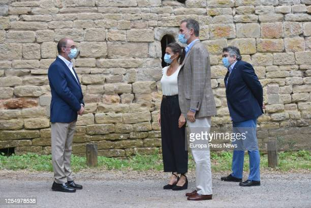 King Felipe of Spain and Queen Letizia of Spain are seen visiting the Old Monastery of San Juan de la Peña at the town of Botaya accompanied by the...