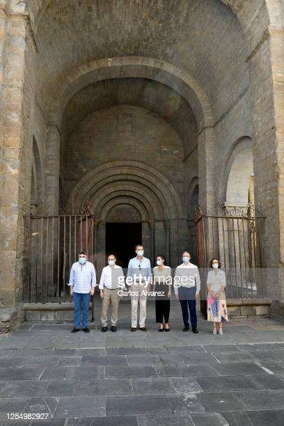 King Felipe of Spain and Queen Letizia of Spain are seen visiting the downtown area of Jaca and the Cathedral on July 08 2020 in Jaca Spain This trip...