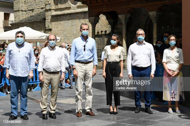 [C] King Felipe of Spain and Queen Letizia of Spain are seen visiting the downtown area of Jaca and the Cathedral on July 08 2020 in Jaca Spain This...