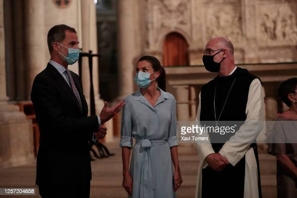 King Felipe of Spain and Queen Letizia of Spain are seen visiting the Royal Monastery of Santa Maria de Poblet on July 20 2020 in Tarragona Spain...