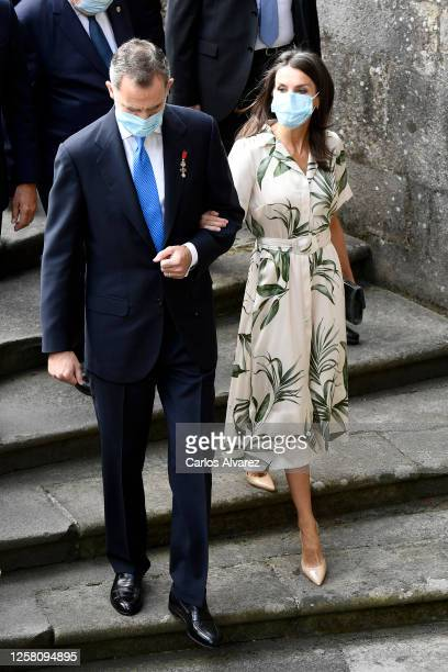 King Felipe of Spain and Queen Letizia of Spain arrive at the church of San Martin Pinairo on July 25, 2020 in Santiago de Compostela, Spain. This...