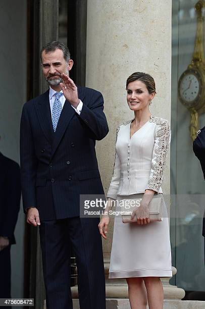 King Felipe of Spain and Queen Letizia of Spain arrive at the Elysee Palace to meet French President Francois Hollande during day 1 of their state...