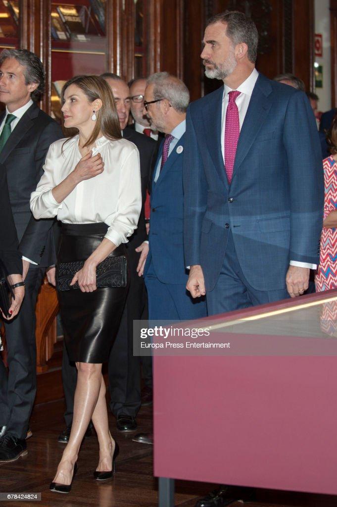 King Felipe of Spain and Queen Letizia of Spain arrive at the opening of the exhibition 'Scripta. Tesoros manuscritos de la Universidad de Salamanca' at the National Library on May 4, 2017 in Madrid, Spain.