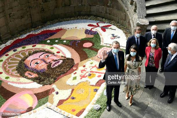 King Felipe of Spain and Queen Letizia of Spain at the church of San Martin Pinairo on July 25, 2020 in Santiago de Compostela, Spain. This trip is...