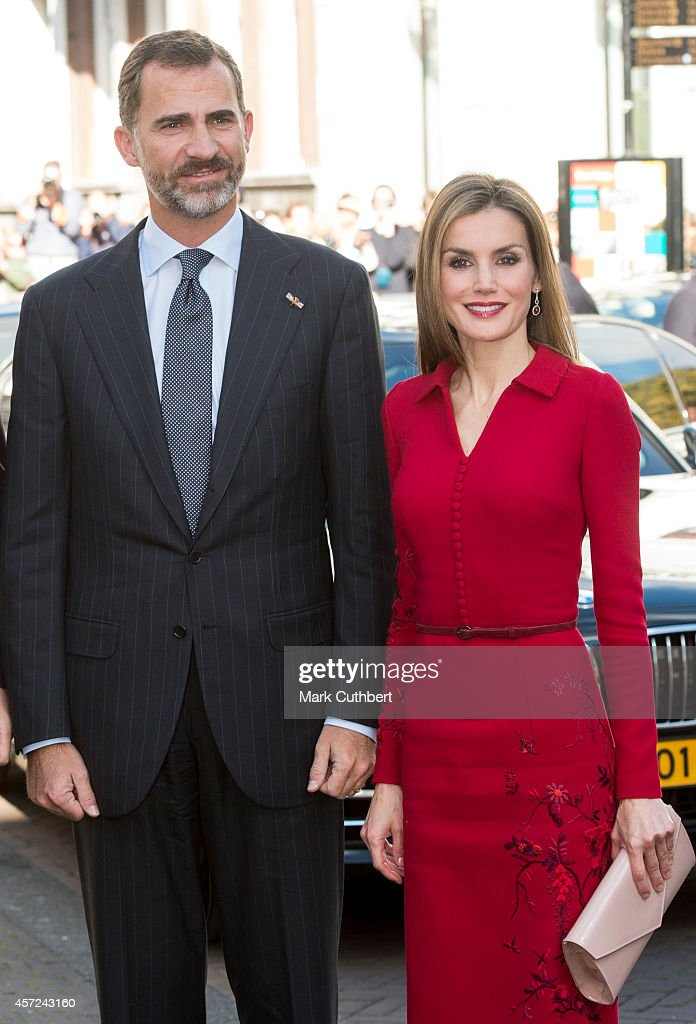 King Felipe of Spain and Queen Letizia of Spain at The Noordeinde Palace on October 15, 2014 in The Hague, Netherlands.