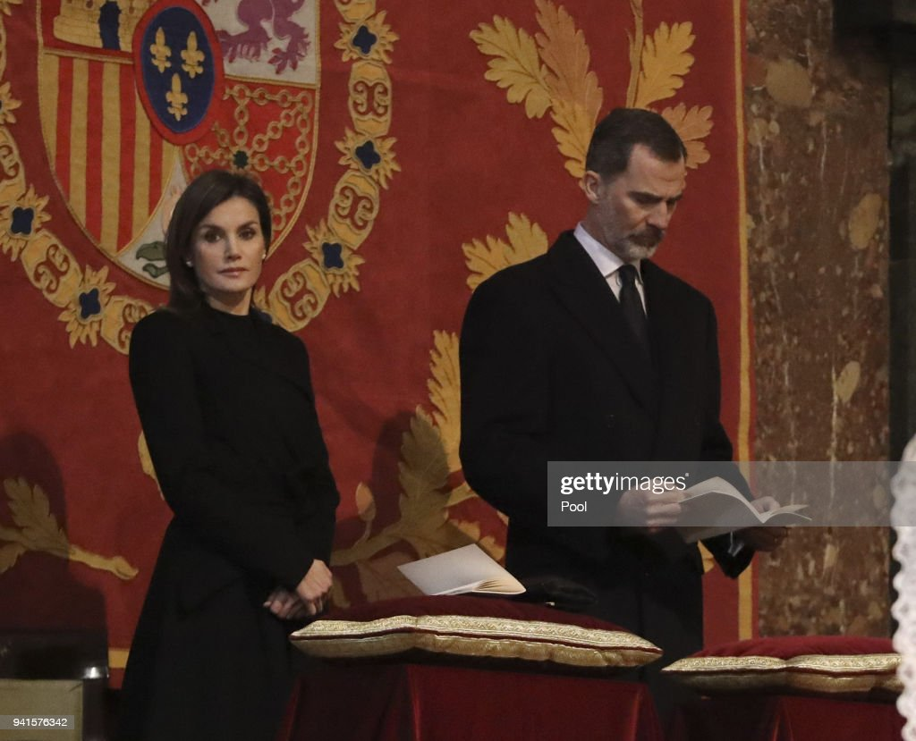 King Felipe of Spain and Queen Letizia of Spain attend a Mass marking the 25th anniversary of death of Conde de Barcelona, father of King Juan Carlos, at San Lorenzo del Escorial Monastery on April 3, 2018 in El Escorial, Spain.