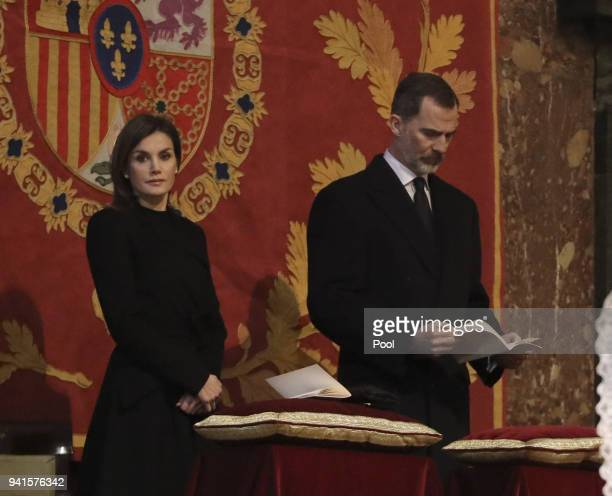King Felipe of Spain and Queen Letizia of Spain attend a Mass marking the 25th anniversary of death of Conde de Barcelona, father of King Juan...